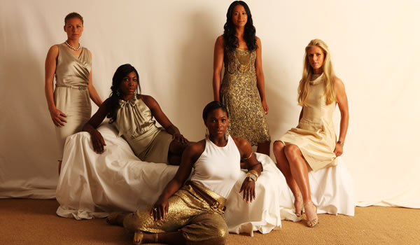 Venus Williams — Wearing a pre-Fall 'Ralph Lauren Black Label' Platinum Satin Tuxedo Silk Dress Serena Williams — Wearing Spring 09 'Ralph Lauren Collection' Gold Sequin Harem Pants with White Tank Top Vera Zvonareva — Wearing pre-Fall 'Ralph Lauren Collection' Platinum Satin Silk Dress Anne Keothavong — Wearing a Spring 09 'Ralph Lauren Collection' Gold Lace Embroidered Dress Elena Dimentieva — Wearing 'Ralph Lauren Black Label' Cowl Neck Dress  Picture by: Carter Berg