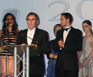 Brian Wilson and Mark Hogarth accepting Textile Brand of the Year at the Scottish Fashion Awards
