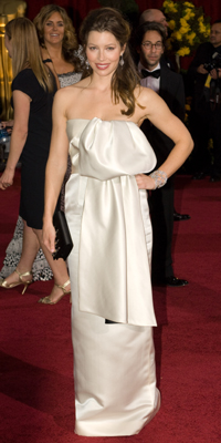 Jessica Biel attends the 81st Annual Academy Awards®  Dress by: Prada  Bryan Crowe / ©A.M.P.A.S.